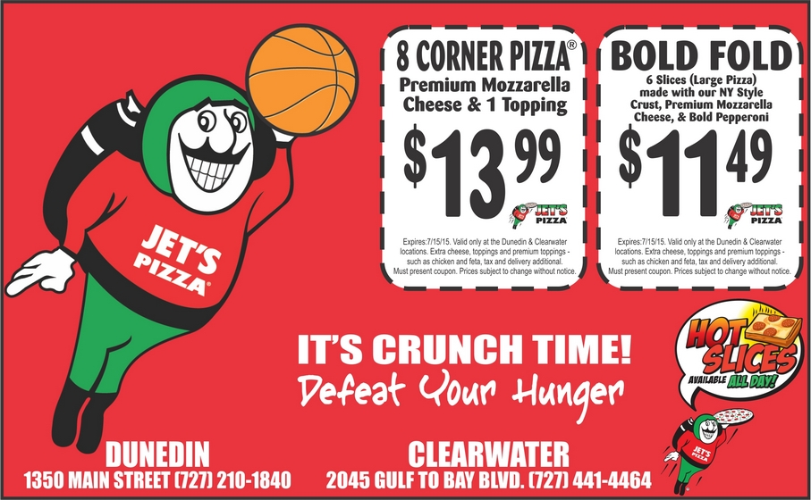 photograph about Jets Pizza Coupons Printable identified as Coupon for Jets Pizza Clearwater Dunedin Palm Harbor